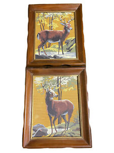 2pc 8x10 Oak Framed Vintage Paint By Numbers Large Deer Woods Stream Snow