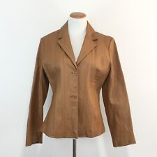 Metro Style Leather Blazer Jacket Fully Lined Great Lines And Look Womens L / 16