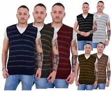 New Mens Knitted V Neck Classic Striped Tank Top Slipover Sleeveless Jumper S-XL