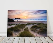 Holywell bay nr newquay cornwall sunset canvas print framed picture wall art