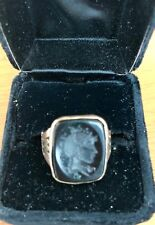 Antique Estate Rose Gold Black Onyx Cameo Finely Crafted Ring- Beautiful.