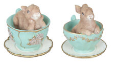 Clayre & Eef Easter Rabbit Decorative Figurine Pastel Green Cup Flowers 6PR1044