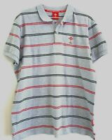 Welsh Rugby Union WRU Striped Grey Polo Shirt Size L