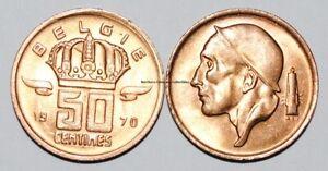 1970 Belgium 50 Centimes Coin BU Very Nice UNC KM# 149.1