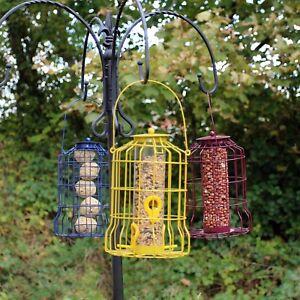 Wild Bird Feeder 3pcs Seed Nut Fat Ball Metal Hanging Squirrel Proof Guard