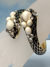SNAKE DOUBLE HEAD BLACK & GOLD LADY CUFF BRACELET w WHITE PEARL & CRYSTAL STONES