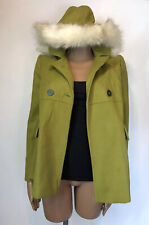 TOPSHOP Green Faux Fur Trim Removable Hood Short Peacoat Worn Once