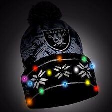 Oakland Raiders Big Logo Light Up LED Printed Beanie Winter Hat