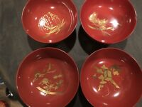 Rare Antique Japanese Red Lacquer Gold Painted Soup Bowls