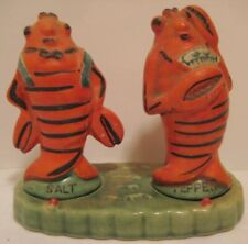 Old Vintage Ceramic Lobster Salt & Pepper Shakers on Tray Signed Pioneer Mdse Ny