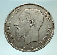 1868 BELGIUM with King LEOPOLD II and LION Genuine Silver 5 Francs Coin i75935