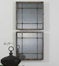 Smoked Antiqued Glass Mirror Squares Cottage | Tiled Grouping Column