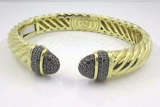 David Yurman 18K Gold Back Diamond Bangle Bracelet