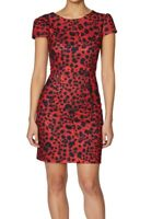 Betsey Johnson Women's Dress Red Black Size 6 Sheath Leopard-Print Crew $89 #239