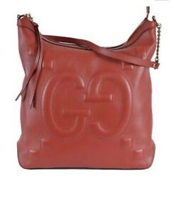 Authentic New Gucci Apollo Embossed GG Red Calfskin Zip Top Hobo #453562, NWT