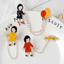 Girl Walking the Dog Cute Enamel brooches pins Take Balloon Lapel Pins