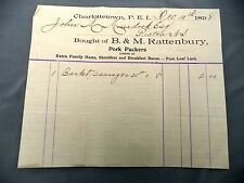 Letterhead Advertising B&M Rattenbury Pork Packers Dec 10, 1898 PEI Murdoch