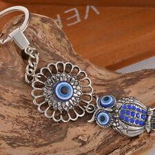 Schlüsselanhänger Schlüsselring Eule Anhänger Strass Amulett Antik Silber