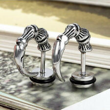 Punk Gothic Steel Horn Claw Stud Earrings Cheater Fake Ear Plugs Gauge Studs