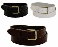 "New Mens Real Leather Belts Genuine Belt Sizes 28-52"" Waist in Black Brown White"