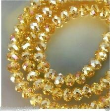 150Pcs Yellow Swarovski  AB Crystal Gemstone Loose Beads 3x4mm