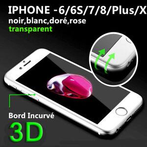 iPhone 8/7/6/6S/X/SE + Film protection Total Intégral VITRE VERRE TREMPE 3D