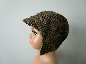 Baby Hat Cap Antique 1910s-20s Wool Tweed Flannel Lined Fall Winter Large Doll