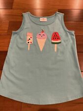 Hanna Andersson Girls Sz 130 US 8 Blue Ice Cream Appliqué Tank Top Shirt EUC