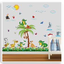 Animal Wall Stickers Jungle Crocodile Dolphin Nursery Baby Kids Room Decal Art