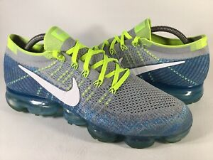 Nike Air Vapormax Flyknit Sprite Grey Blue Volt Green White Mens Size 10 Rare