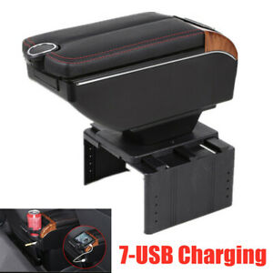7-USB Ports Car Auto Dual Opening Armrest Storage Box Central Console Cup Holder