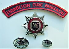 Old Hamilton (Bermuda) Fire Brigade Cap Badge, Buttons & Patch.  UK Colonial.