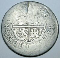 Authentic 1700's Spanish Silver 1 Reales Antique Colonial Pirate Treasure Coin