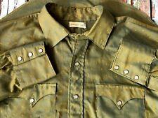 1950`S piel de tiburón Dos Tonos Larga Cola Permanente Press Stud Up Western Shirt Large