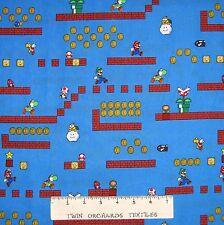 "Nintendo Fabric - Mario Luigi Yoshi Game Scene Blue - Springs Cotton 20"""