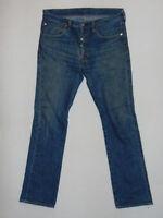 Levi Strauss Vintage 501 1980s W32 L32  Mens Blue Denim Jeans Leather Patch