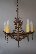 1920's Chandelier With Crest Motif Fits In Spanish Revival Tudor Home (7256)