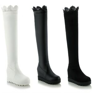 Women's Wedge Heel Platform Shoes Black/White Round Toe Stretchy Over Knee Boots