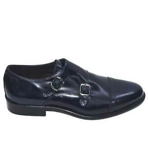 Scarpe classiche due fibbie blu abrasivato fondo cuoio vera pelle genuine leathe