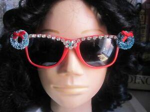 Merry Christmas Bright Red Decorated UV Sunglasses Rhinestones & Wreaths Signed