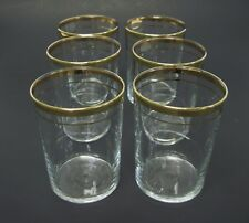 6 Vintage Old Fashioned Rocks Low Ball Glasses Clear with Double Gold Band