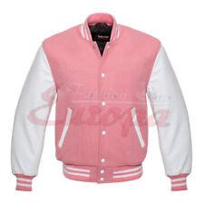 New Pink Genuine Leather Sleeve Letterman College Varsity Men Wool Jacket