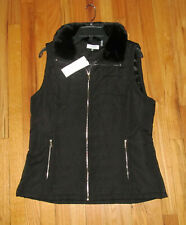 Calvin Klein Womens Black Fur Collar Vest L NWT $89