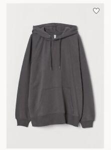 H&M Dark Grey Women's Hoodie Oversized Jumper Size XS S 6 8 10