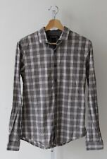 MICHAEL KORS Mens Long Sleeve Button Down Shirt Slim Fit Gray Plaid Cotton S