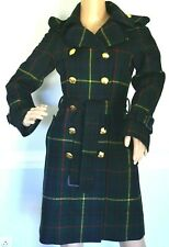 MOSCHINO Green Tartan Plaid Gold Belted Wool Jacket Trench Coat US 4 6  / IT 40