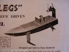 A MODEL BOAT PLAN 1967 SEA LEGS BASIC SIMPLE AIRSCREW DRIVEN HYDROFOIL ON A3