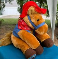 "Vintage Aurora Horse W/Cowboy Hat Vest & Bandana 10"" Plush Stuffed Animal Toy"