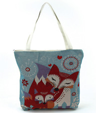 Woven Fox Mom  and Baby Love Tote Handbag Bag Purse