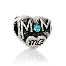 5pcs Silver Tibetan European Charm Crystal Beads Fit Bracelets mom&me Heart